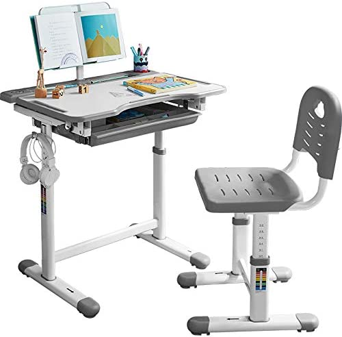 Student With Tilted Desktop Drawer Height Adjustable Study Desk And Chair Set
