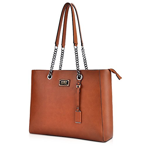 ZYSUN 15.6 inch Laptop Bag for Women,Multi-Compartment Laptop Tote PU Leather Briefcase Brown