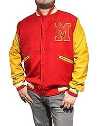 Finest Collections MJ Thriller Michael Jackson Red M Logo Varsity Letterman Varsity Bomber Jacket