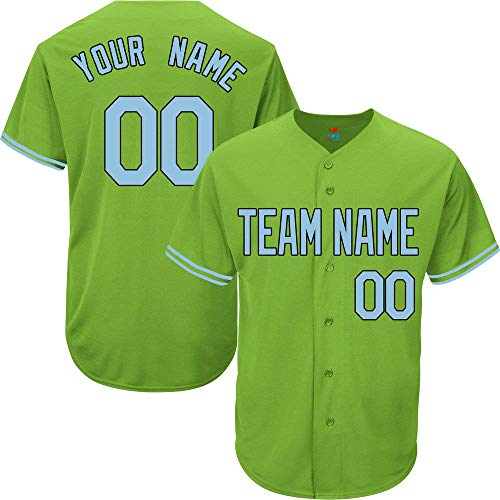 (Light Green Custom Baseball Jersey for Men Women Youth Replica Embroidered Team Name & Numbers S-5XL Light Blue Black)
