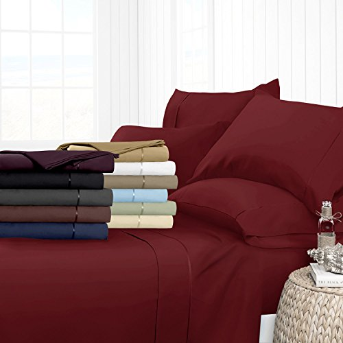 Egyptian Luxury 1700 Hotel Collection 4-Piece Bed Sheet Set - Deep Pockets, Wrinkle and Fade Resistant, Hypoallergenic Sheet and Pillow Case Set  - Queen, Burgundy (Deep Pocket Bed Sheets Queen Set)