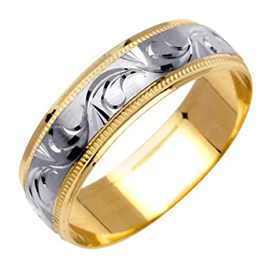 Amazoncom 14K Two Tone Solid Gold Design Carved Wedding Ring Band
