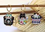 Set of 3 Cat Kitten Stitch Markers for Knitting