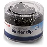 Officemate Assorted Size, 50 Small/10 Medium, Binder Clips, Black, 60 per Tub (31025)