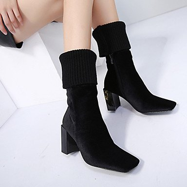RTRY Women's Shoes Leatherette Spring Fall Winter Basic Pump Comfort Novelty Boots Chunky Heel Mid-Calf Boots Zipper For Wedding Casual Office US5 / EU35 / UK3 / CN34 L43X37zV