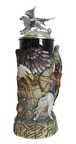 Griffin Stein, cobalt, handpainted, pewter Griffinlid, 0.75 liter tankard, beer mug by ISDD Cuckoo Clocks