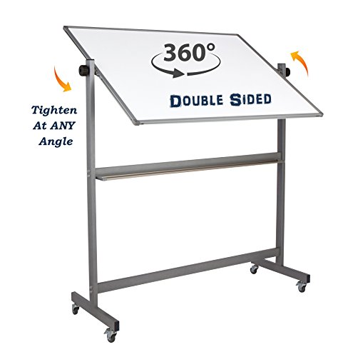 """Magnetic Mobile Whiteboard Large On Stand Double Sided Flip Over Dry Erase Reversible Portable Home Office Classroom Board 36 x 48"""" Inch with 4 Markers 12 Magnets Eraser and Ruler Easel Aluminum Frame by Dapper Display (Image #3)'"""