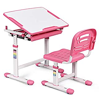 HONEY JOY Kids Desk and Chair Set, Height Adjustable Study Table and Chair, Tilting Desktop with Book Stand and Drawer Storage, Metal Hook for Schoolbag, Ergonomic Design for Boys and Girls (Pink)