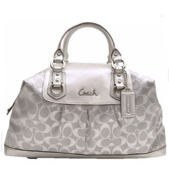 Coach Signature Ashley Large Lurex Satchel Convertible Bag White/Silver  15809