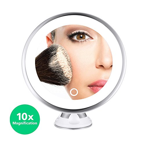 MelodySusie 10x lighted magnifying mirror - Portable Bathroom Vanity Makeup Mirror with Strong Suction Cup, 360 Degree Swivel Rotation, Dimmable Light, Battery and USB Operated ()
