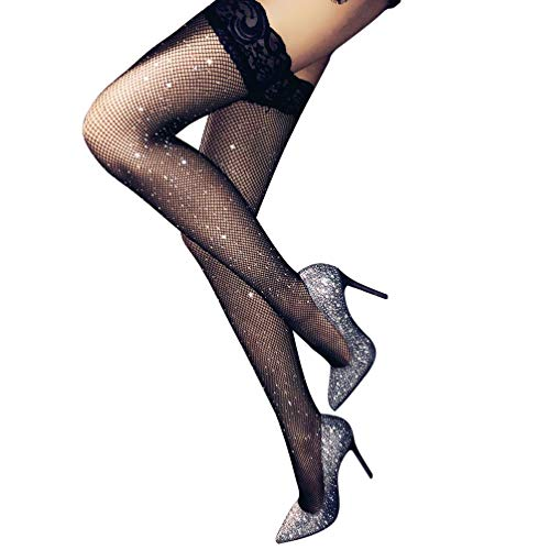 (Stockings Women's Thigh High Tights Sparkle Rhinestone Lace Top Fishnet)