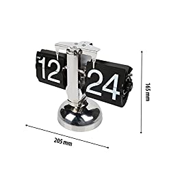 LeaningTech Retro Stainless Steel Small Scale Flip Down Clock, Desktop Home Table Internal Gear Operated, Modern Digital Mechanical Clock Decoration