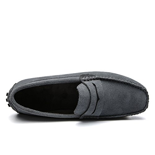 Camper Slipper Shoes Mens Lined Slippers Suede Slipper Loafers Ascot Pile Gray Hardsole SUNROLAN Moccasin Z4wFqZ