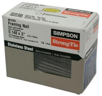"Simpson Strong Tie SS10DD 10d x 3"" Joist Hanger Nails 316 Stainless Steel 1-lb per Package"