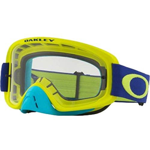 Oakley O Frame 2.0 MX Adult Off-Road Motorcycle Goggles - FLO Lime Blue/Clear & Dark Grey