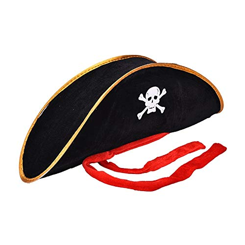 (Caribbean Pirate Hat - Adult Pirate Hat Skull Costume Fancy Dress Hlooween Party Cap Caribbean Corsair - Valentine Ideas Monkey Blue Themed Carnival Video Toddler Bachelorette Elegant Friends)