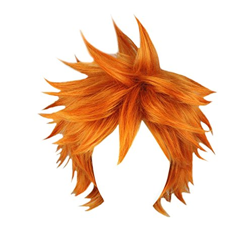 APE Halloween Costume Cosplay Wig 12.5 Inch Short Straight Spiky Cut Orange Wig Unisex Layered Wig for Daily Use/TV/Film/Anime Character Cosplay/Party/Performance -