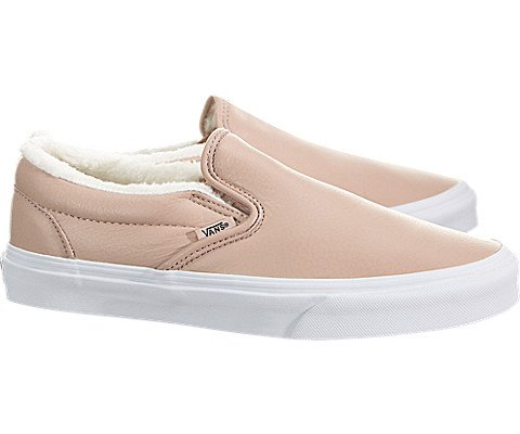 Vans Unisex Classic Slip-on (Leather) Mahogany Rose/True White VN0A38F7QTR Men's Size 5.5, Womens 7