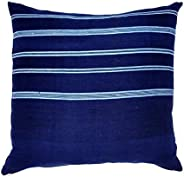 Upcountry Textiles Handwoven Throw Pillow, Blue with Light Blue Stripes, 20x20