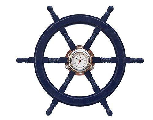 Deluxe Class Dark Blue Wood and Chrome Pirate Ship Wheel Clock 24\