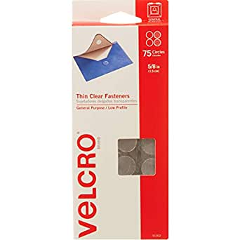 """VELCRO Brand Thin Clear Dots with Adhesive   75Pk   5/8"""" Circles   For Crafting School Projects, Home and Office Organization   Low Profile Design"""