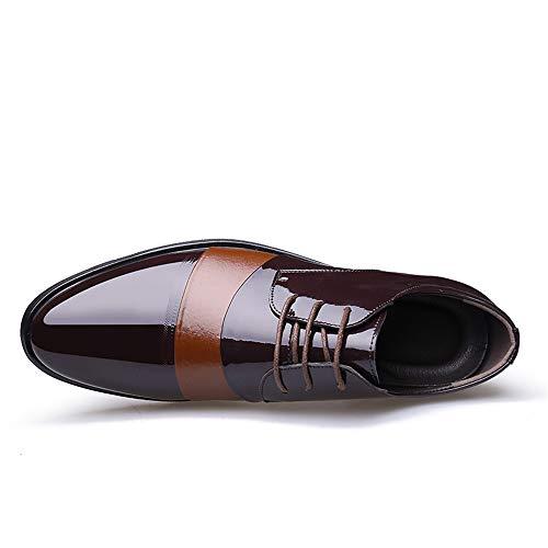 a British Uomo Pelle Punta Le Business Stile Scarpe Scarpe Verniciata Respira da in da Formali Colore Cricket Casual Oxford Marrone qP6rE6zw