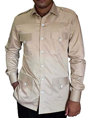 INMONARCH BoyScout Shirt Safari tan CrocodileHunter Costume Cotton 4 Pocket Bush Shirts HS103LARGE L (Large) Tan