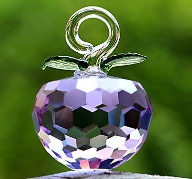 40mm New Year Chirstmas Tree Hanging Cut Crystal Glass Apple Ornaments decoratio ()
