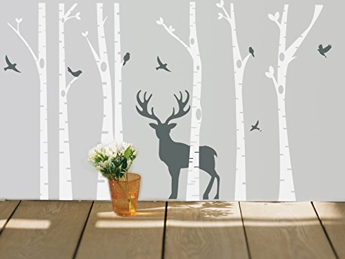 7 Birch Tree Wall Decal with Deer and Flying Birds White Tre