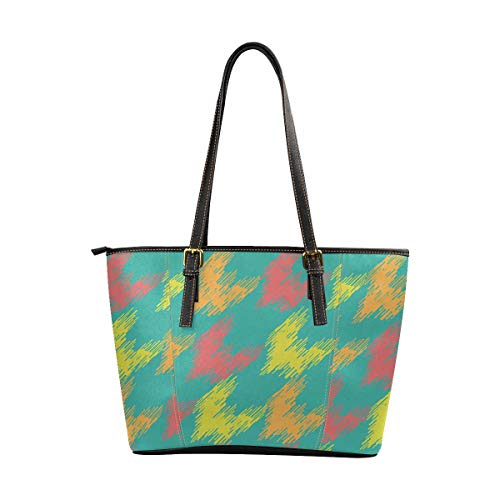 - InterestPrint Women's Large Capacity Work Tote Shoulder Bag Abstract Hounds Tooth Ornament