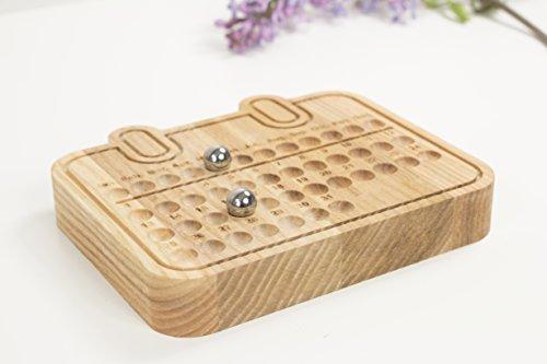 Wooden perpetual calendar - Compact perpetual calendar - Wooden block calendar - Desk calendar - Family calendar - Office table calendar