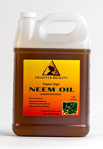 Neem Oil Unrefined Concentrate Virgin Raw Cold Pressed Pure 128 oz, 7 LB, 1 gal
