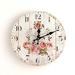 SWQAA Floral Home 12 Inch Silent Vintage Design Wooden Round Wall Clock, Vintage Arabic Numerals Design Rustic Country Tuscan Style Wooden Decorative Round Wall Clock