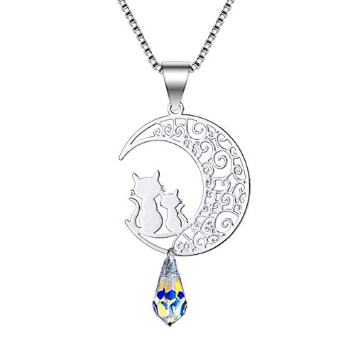 ISAACSONG.DESIGN Sterling Silver Rose Gold Cat Moon Charms Pendant Necklace for Women (Silver Moon)