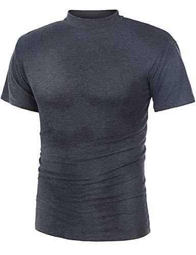 Ls Pullover Top - RAGEMALL Men's Mock Neck Short Sleeve T-Shirt Casual Summer Thin Pullover Basic Tops Grey M