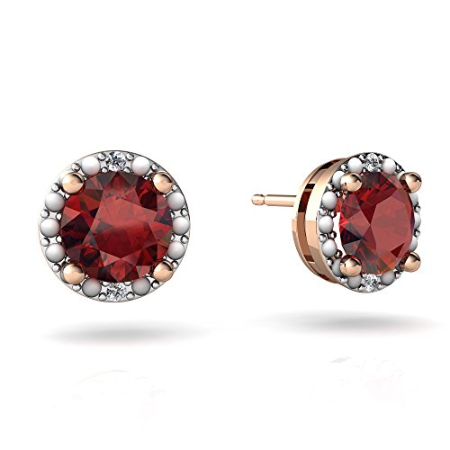 14kt Rose Gold Garnet and Diamond 6mm Round Halo Illusion Earrings