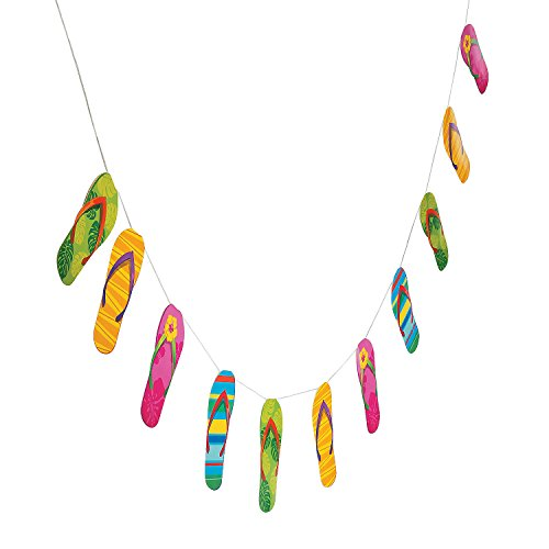 Fun Express - Flip Flop Garland - Party Decor - Hanging Decor - Garland - 1 Piece (Decorations Flop Flip)