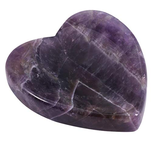 SUNYIK Handcarved Thumb Worry Stone, Polished Palm Pocket Stones Healing Crystals, Heart Shaped, Amethyst ()