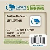 Swan Card Sleeves (67x67mm) - 160 Pack, Thin Sleeves - Civilization