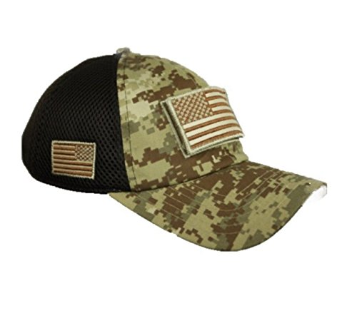 (90210 Wholesale USA American US Flag Baseball Cap Patch Trucker Tactical Army CAMO Hat Hunting (Digital Desert Camo))