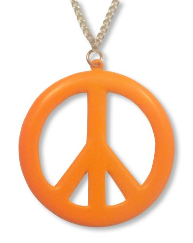 (Real Metal Hippie Peace Sign Neon Orange Enamel Finish Pewter Pendant Necklace)