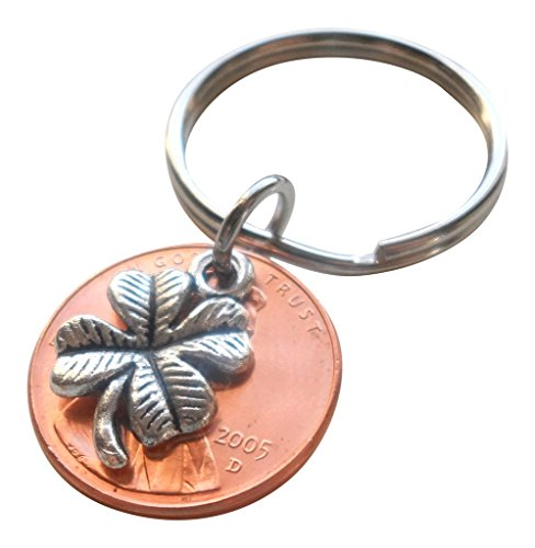 - Clover Charm Layered Over 2005 Penny Keychain, 14 year Anniversary Gift, Couples Keychain