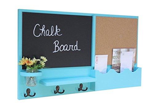 Legacy Studio Décor Message Center with Chalkboard Cork Board Mail Organizer Key Hooks Coat Hooks Mason Jar (Smooth, Turquoise) by Legacy Studio Decor (Image #1)