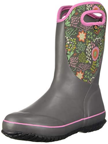(Bogs Unisex Slushie Snow Boot, Reef Gray Multi, 5 Medium US Big Kid)