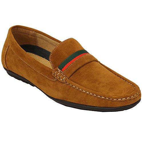 semelle cuir enfiler mocassins hommes Chaussures Chameau ITALIEN suédé BATEAU Ccc009 caoutchouc à mocassins NEUF RUBAN LOOK fYwSz5qS