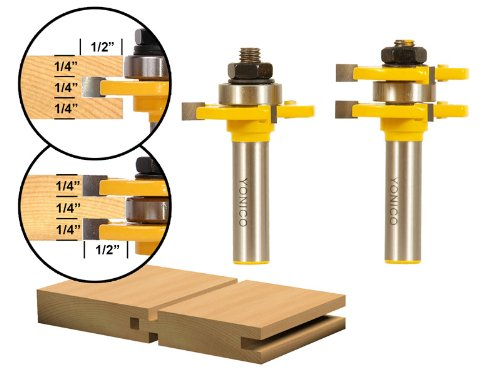 Yonico 15221 Matched Tongue and Groove Router Bit Set 1/2-Inch Shank
