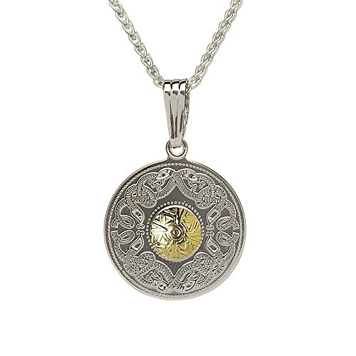 Large Celtic Warrior Necklace Silver & 18K Gold Bead - 18k Gold Bead