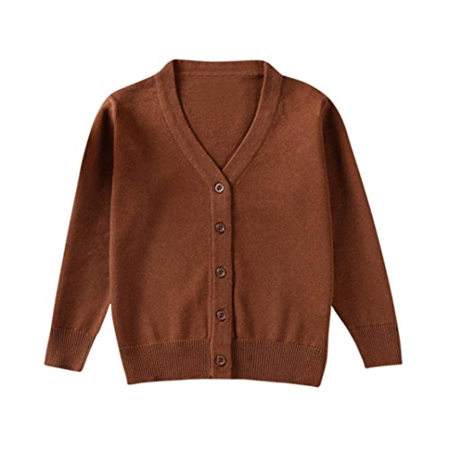 Infant Baby Boys Girls Knitted Colorful Solid Sweater Cardigan Coat Tops Toddler Autumn Winter Clothes 1-3 T (2-3 Years Old, Brown)