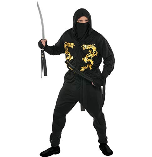 amscan black dragon ninja halloween costume for adults plus size with included accessories