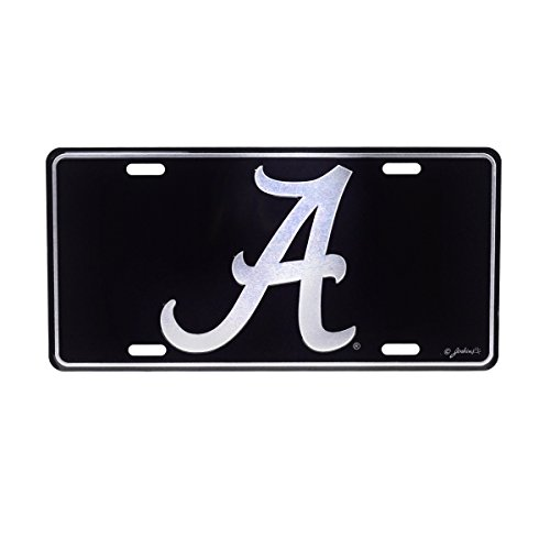 TG LLC University of Alabama Crimson Tide Black Mirrored License Plate